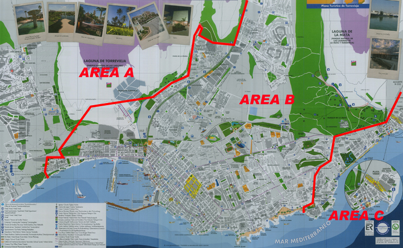 Map areas Torrevieja. Airport Manises Valencia and Elche Alicante Taxi Service