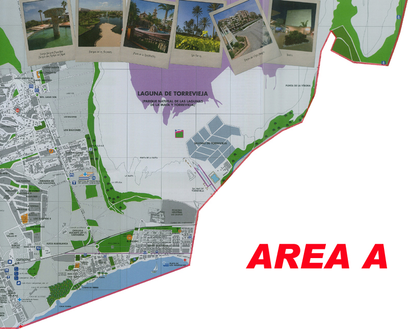 Map areas Torrevieja. Airport Corvera Murcia Taxi Service
